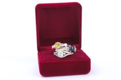 Το κόσμημα δαχτυλιδιών είναι δημοφιλές με τα κορίτσια Ένα σύμβολο της αγάπης και του θορίου Στοκ Εικόνες