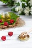 Το κύπελλο με το μέλι, τα μούρα και τα φύλλα του σμέουρου σε μια ξύλινη στάση Κουτάλι με το μέλι, λουλούδια της Jasmine Στοκ φωτογραφία με δικαίωμα ελεύθερης χρήσης