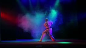 Το κύριο karate υπόβαθρο με το χρωματισμένο καπνό εκτελεί το kata φιλμ μικρού μήκους