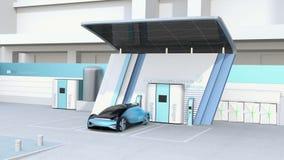 Το κύτταρο καυσίμου τροφοδότησε το αυτόνομο γεμίζοντας αέριο αυτοκινήτων στο σταθμό υδρογόνου κυττάρων καυσίμου διανυσματική απεικόνιση