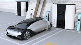 Το κύτταρο καυσίμου τροφοδότησε το αυτόνομο γεμίζοντας αέριο αυτοκινήτων στο σταθμό υδρογόνου κυττάρων καυσίμου ελεύθερη απεικόνιση δικαιώματος