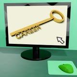 Το κλειδί σταδιοδρομίας στον υπολογιστή παρουσιάζει να πάρει την απασχόληση σε απευθείας σύνδεση διανυσματική απεικόνιση