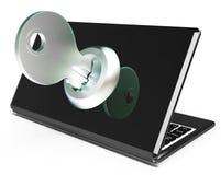 Το κλειδί στον υπολογιστή παρουσιάζει τον περιορισμένο κωδικό πρόσβασης ή ξεκλείδωμα Στοκ Εικόνα