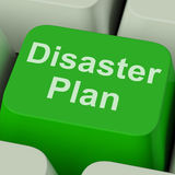 Το κλειδί σχεδίων σε περίπτωση καταστροφής παρουσιάζει προστασία κρίσης έκτακτης ανάγκης Στοκ εικόνα με δικαίωμα ελεύθερης χρήσης