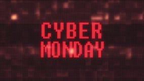 Το λάμποντας πράσινο κείμενο λέξης Δευτέρας cyber στον ψηφιακό υπολογιστή LCD δυσλειτουργίας οδήγησε το νέο ποιοτικό techology ζω ελεύθερη απεικόνιση δικαιώματος