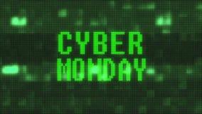 Το λάμποντας πράσινο κείμενο λέξης Δευτέρας cyber στον ψηφιακό υπολογιστή LCD δυσλειτουργίας οδήγησε το νέο ποιοτικό techology ζω διανυσματική απεικόνιση