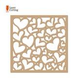 Το λέιζερ έκοψε την επιτροπή Διανυσματικό πρότυπο πλαισίων με τις καρδιές για την περικοπή στη μηχανή λέιζερ Σχέδιο σκιαγραφιών τ απεικόνιση αποθεμάτων