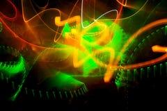 Το λέιζερ παρουσιάζει, πράσινος και πορτοκαλής σε μια λέσχη Στοκ φωτογραφίες με δικαίωμα ελεύθερης χρήσης