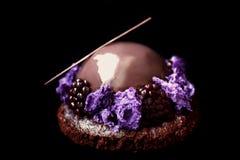 Το λαμπρό βερνικωμένο επιδόρπιο σοκολάτας και βατόμουρων με το πορφυρό μικρόκυμα σφουγγίζει και φρέσκα μούρα στο μαύρο υπόβαθρο στοκ εικόνες