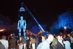 Το Λα Fura dels Baus και η γιγαντιαία μαριονέτα εμφανίζουν Στοκ Εικόνα