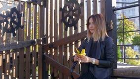 Το λεπτό κορίτσι στέκεται στο πάρκο και κρατά τα πεσμένα φύλλα φθινοπώρου και συλλέγει την ανθοδέσμη απόθεμα βίντεο