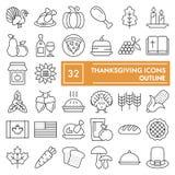 Το λεπτό σύνολο εικονιδίων γραμμών ημέρας των ευχαριστιών, συλλογή συμβόλων εορτασμού, διανυσματικά σκίτσα, απεικονίσεις λογότυπω απεικόνιση αποθεμάτων