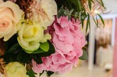 Το λεπτό υπόβαθρο του hydrangea λουλουδιών και αυξήθηκε κινηματογράφηση σε πρώτο πλάνο Στοκ Φωτογραφίες