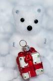 Το λευκό διακοσμήσεων Χριστουγέννων αντέχει cub Στοκ Φωτογραφία