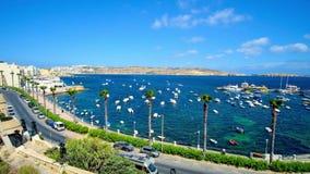 Το λιμάνι σε Bugibba, Μάλτα απόθεμα βίντεο