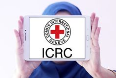 Το λογότυπο ΕΡΥΘΡΩΝ ΣΤΑΥΡΏΝ Διεθνούς Επιτροπής Ερυθρού Σταυρού Στοκ Φωτογραφίες