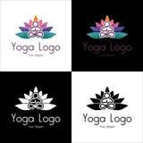 Το λογότυπο χαλαρώνει τις βιομηχανίες, το medititation, τη γιόγκα, και τον αθλητισμό με το κείμενο θέσεων Στοκ Φωτογραφία