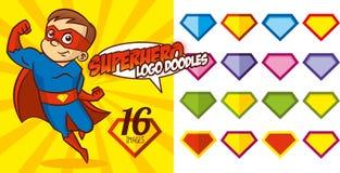 Το λογότυπο Superhero doodles έθεσε το έξοχο διάνυσμα χαρακτήρα ηρώων Στοκ φωτογραφίες με δικαίωμα ελεύθερης χρήσης