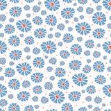 Το λουλούδι τομέων μαργαριτών τυπώνει παντού το διάνυσμα Ζωηρόχρωμο σχέδιο επανάληψης ανθίσεων άνευ ραφής διανυσματική απεικόνιση