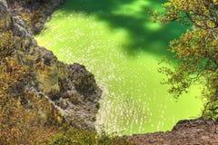 Το λουτρό `, μια νέο-πράσινη φορτωμένη μετάλλευμα λίμνη διαβόλων ` s ` σε Waiotapu, Νέα Ζηλανδία στοκ εικόνες με δικαίωμα ελεύθερης χρήσης