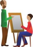 Το μάθημα σχεδίων, ο δάσκαλος και ο σπουδαστής Στοκ εικόνα με δικαίωμα ελεύθερης χρήσης