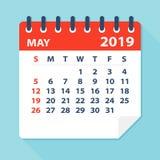 Το Μάιο του 2019 ημερολογιακό φύλλο - διανυσματική απεικόνιση διανυσματική απεικόνιση