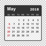 Το Μάιο του 2018 ημερολόγιο Πρότυπο σχεδίου ημερολογιακών αρμόδιων για το σχεδιασμό Ενάρξεις εβδομάδας Στοκ Εικόνες
