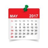 Το Μάιο του 2017 ημερολόγιο Στοκ Εικόνα