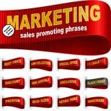 Το μάρκετινγκ της ετικέτας ετικεττών ντύνει ραμμένο το αυτοκόλλητη ετικέττα καθορισμένο κόκκινο φράσης απεικόνιση αποθεμάτων
