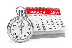 Το Μάρτιο του 2016 ημερολόγιο με το χρονόμετρο με διακόπτη Στοκ Εικόνα