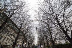 Το μάτι του Λονδίνου είναι μια γιγαντιαία ρόδα Ferris στο South Bank του ποταμού Τάμεσης στο Λονδίνο Η δομή είναι 443 πόδια 135 ψ Στοκ εικόνα με δικαίωμα ελεύθερης χρήσης