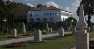 Το μέγαρο Bahji στον όμορφο κήπο Bahai Στρέμμα, Ισραήλ απόθεμα βίντεο