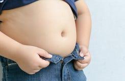 Το μέγεθος του στομαχιού των παιδιών με το υπερβολικό βάρος Στοκ Εικόνα