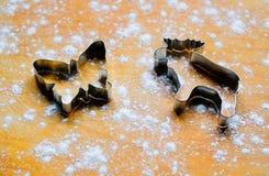Το μέταλλο διαμορφώνει τις φόρμες, κόπτες για τα μπισκότα πιπεροριζών με μορφή στοκ εικόνα