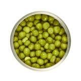Το μέταλλο μπορεί σύνολο των πράσινων μπιζελιών που απομονώνεται Στοκ Εικόνες