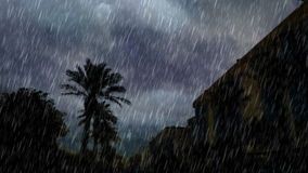 Το μέτωπο η λεωφόρος και η δυνατή βροχή φιλμ μικρού μήκους