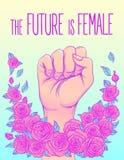 Το μέλλον είναι θηλυκό Χέρι γυναίκας με την πυγμή της που αυξάνεται επάνω κορίτσι απεικόνιση αποθεμάτων