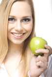 το μήλο τρώει την πράσινη γυναίκα Στοκ Εικόνες