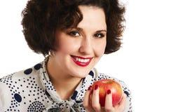 το μήλο τρώει τη γυναίκα Στοκ εικόνα με δικαίωμα ελεύθερης χρήσης