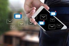 Το μήνυμα σύνδεσης επικοινωνίας ταχυδρομείου στην αποστολή έρχεται σε επαφή με inbox στοκ φωτογραφία