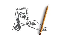 Το μήνυμα, ταχυδρομείο, smartphone, συνδέει, έννοια Διαδικτύου Συρμένο χέρι απομονωμένο διάνυσμα ελεύθερη απεικόνιση δικαιώματος