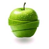 το μήλο έκοψε τις πράσινε&sig Στοκ Φωτογραφία