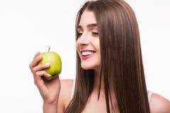 το μήλο τρώει την πράσινη γυ& Στοκ Εικόνα