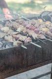 Το μαγείρεμα ατόμων που μαρινάρεται shashlik ή shish kebab, το κρέας ψήνοντας στη σχάρα στο οβελίδιο μετάλλων, κλείνει επάνω Εκλε Στοκ Εικόνα