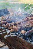 Το μαγείρεμα ατόμων που μαρινάρεται shashlik ή shish kebab, το κρέας ψήνοντας στη σχάρα στο οβελίδιο μετάλλων, κλείνει επάνω Εκλε Στοκ εικόνα με δικαίωμα ελεύθερης χρήσης