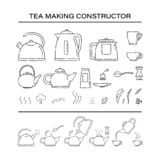 Το μαγείρεμα παρασκευάζει τα καθορισμένα εικονίδια κατασκευαστών διαδικασίας τσαγιού Πώς να κάνει καυτό teapot ποτών και να βράσε ελεύθερη απεικόνιση δικαιώματος