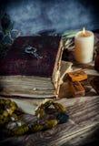 Το μαγικό βιβλίο και η γοητεία αντιτίθενται, η πρακτική μαγικού, enchantment, μαγεία στοκ εικόνες με δικαίωμα ελεύθερης χρήσης
