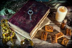 Το μαγικό βιβλίο και η γοητεία αντιτίθενται, η πρακτική μαγικού, enchantment, μαγεία στοκ εικόνα με δικαίωμα ελεύθερης χρήσης