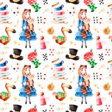 Το μαγικό σχέδιο με καλό αυξήθηκε, παίζοντας τις κάρτες, το καπέλο, το παλαιό ρολόι και τα χρυσά κλειδιά, νέο κορίτσι ελεύθερη απεικόνιση δικαιώματος
