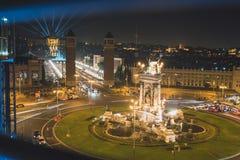 Το μαγικό φως πηγών εμφανίζει στη Βαρκελώνη, Ισπανία Στοκ Εικόνες